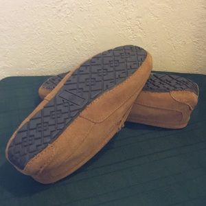 Other - Men's Tan Leather slippers W/Sheepskin Lining NEW